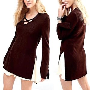 Free People Long Vented Layering Tunic Sweater